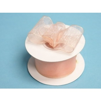 1 1/2 Wired Organza Ribbon - Peach