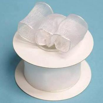 1 1/2 Wired Organza Ribbon - White