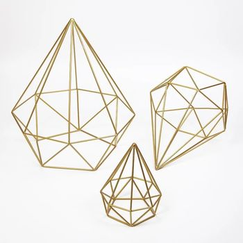 Set of 3 - Gold Geometric Prism