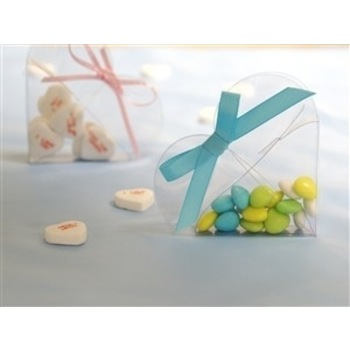 100pk Favor Box - Clear Heart