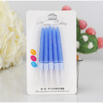 10pk Blue Birthday Cake Candles with cups