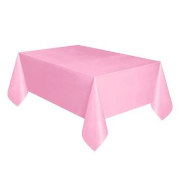 137x275cm Pink Plastic Party Tablecloth