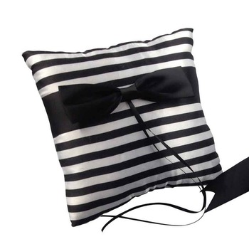 Ring Pillow - Black/White Satin Stipe