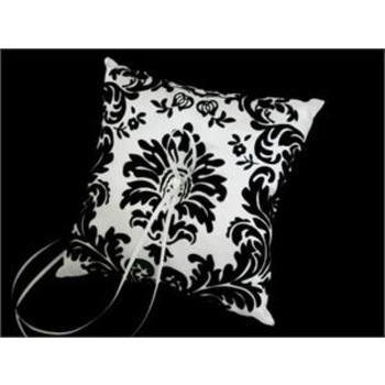 Ring Pillow - Damask Black and White