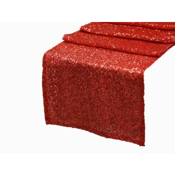 Sequin Duchess Table Runner - Red