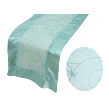 Table Runner (Embroidered Organza) - Blue