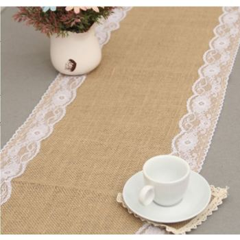 Jute & Lace Table Runner - Shabby Chic Country