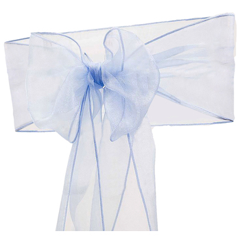 Organza (Crystal) Chair Sash - Periwinkle (Mid Blue)