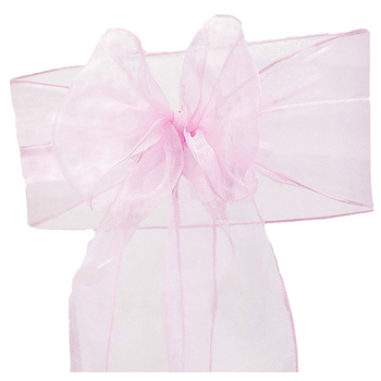 Organza (Crystal) Chair Sash - Pink