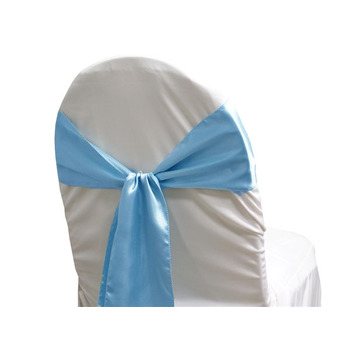 Satin Chair Sash - MID Blue