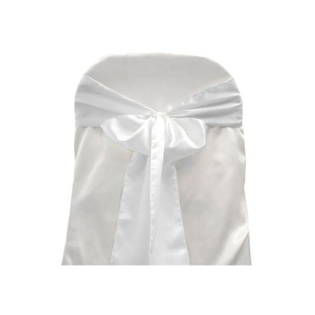 Satin Chair Sash - White