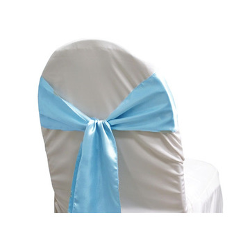 Satin Chair Sash - Light Blue
