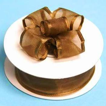 7/8 x 10yd Wired Satin Edge Organza Ribbon - Choc