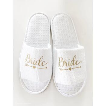 Bride - White Waffle Spa Slippers