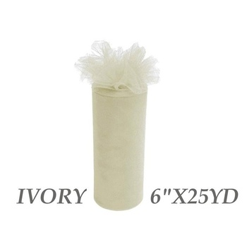 6inch x 25yd Tulle Roll - Ivory (29)