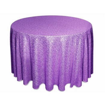 275cm Round Sequin Tablecloth - Purple