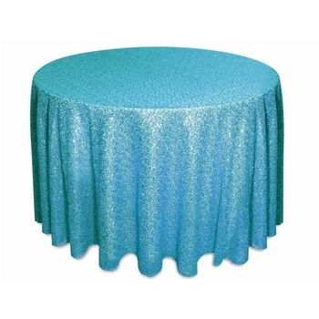 108inch Round Sequin Tablecloth - Turq