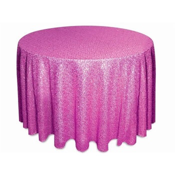 305cm Round Sequin Tablecloth - Fushia