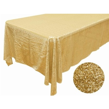 152x260cm Full Sequin Tablecloth - Gold