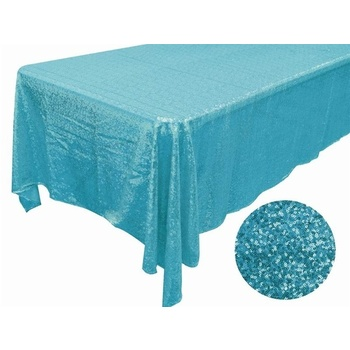 90x132inch Full Sequin Table Cloth - Turq