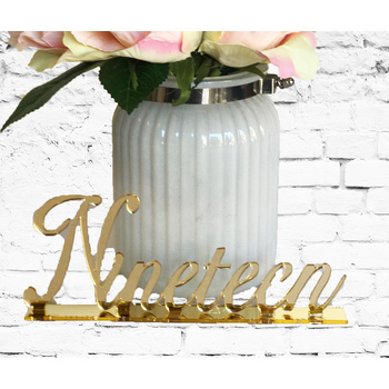 Gold Mirror Table Numbers - Words 11-20
