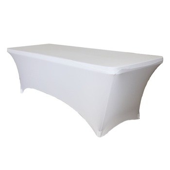 6Ft (1.8mx45cm) NARROW Fitted Lycra Tablecloth 210gsm - White