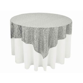 Stunning Sequin Table Overlay 90inch - Silver