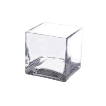 10cm Heavy Duty Glass Square Cube Vase