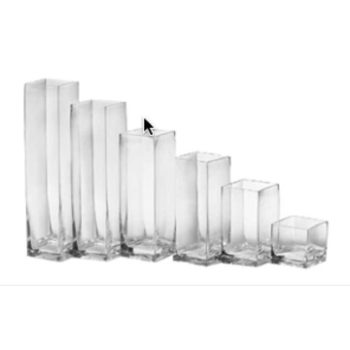 30cm Heavy Duty Glass Square Cube Vase