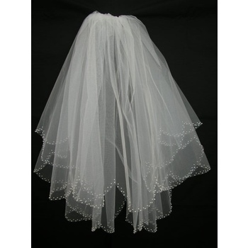 70cm White Pearl 2 Tier Wedding Bridal Veil - V0523W2-1W