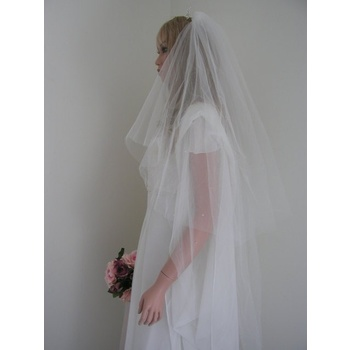 105cm Ivory Raw Edge Crystal 2 Tier Veil - V0499W2-1DW