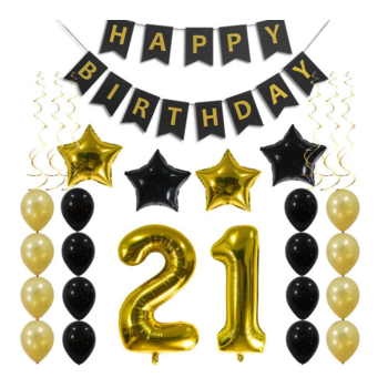 21st Birthday Balloon Decorating Kit - Gold & Black