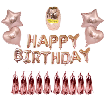 Happy Birthday Kit with Tassels - Rose Gold