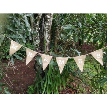 Burlap Banner Bunting  - Mr & Mrs 2m (small)