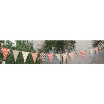 Burlap Banner Bunting - Coloured Chevron 2.8m (small)