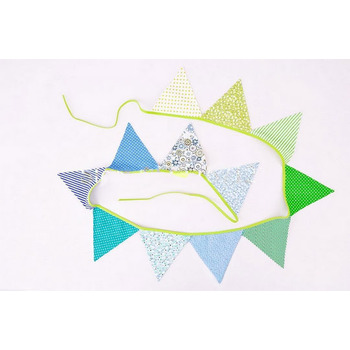 Fabric Party Banner Bunting- Blue Patterned