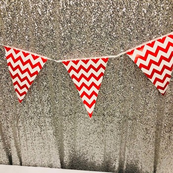 3.5m Large Party Bunting/Banner Flag - Red Zigzag