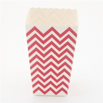 Red Chevron Mini Popcorn or Lolly Box