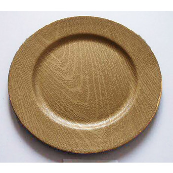 48pk - 33cm Gold Wood Finish Plastic Charger Plate
