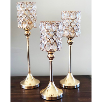 3pcs set of Gold Cylinder Centrepiece Candelabra