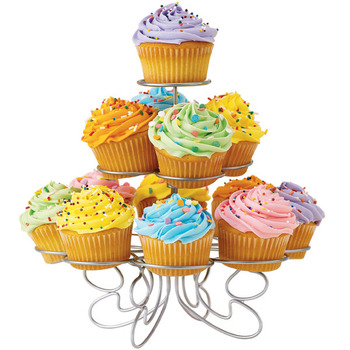 3 Tier - Silver Metal Cup Cake Stand