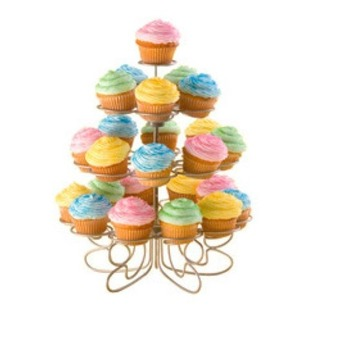 4 Tier - Silver Metal Cup Cake Stand