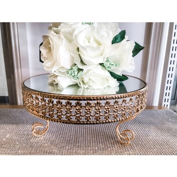 30cm Round Raised Mirror Top Cake Stand -  Gold