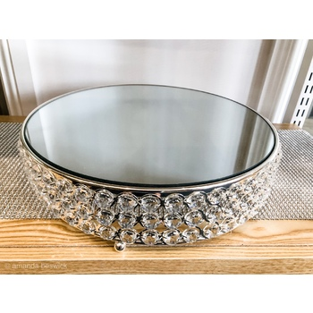 25cm  Mirror Top Crystal Cake Stand -  Silver