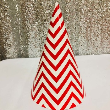 12pk - Large Paper Party Hat Red Zigzag