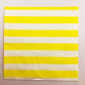 20pk - Paper Party Napkins Yellow Stripe
