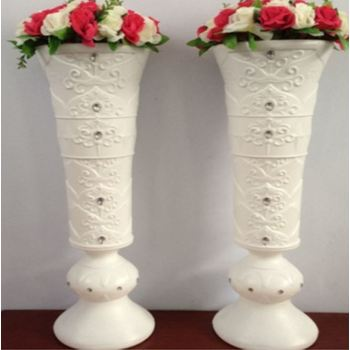 4pk x 90cm White Diamante Tall Pedastal Vases