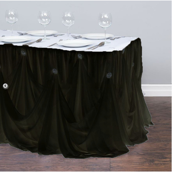 Black Princess Style Table Skirting W/ Brooches 5.2m - Ready to hang