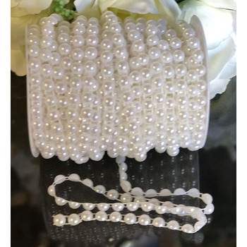 8mm White 1/2 Pearl String Beads - 25m Chain/Garland