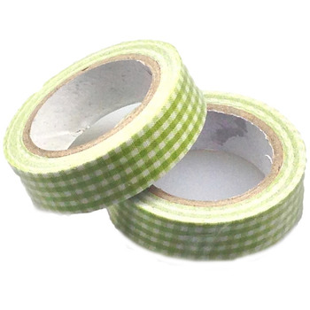 Lime Small Checked Washi Tape - 10m